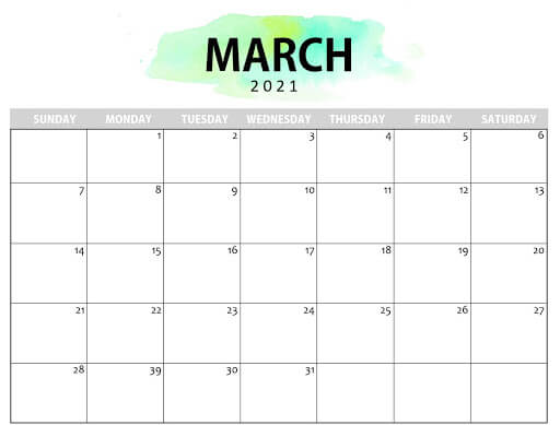 Blank March 2021 Calendar Printable Template