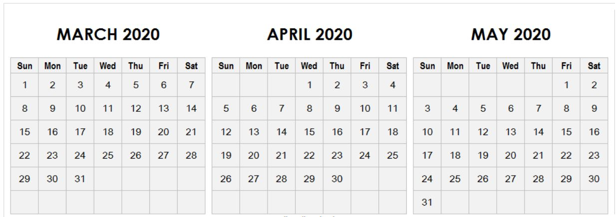 Blank March April May 2020 Calendar