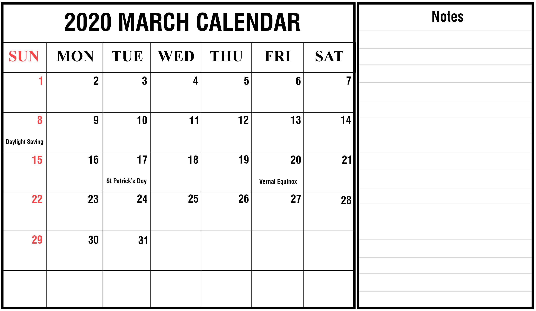 Blank March Calendar 2020 Templates