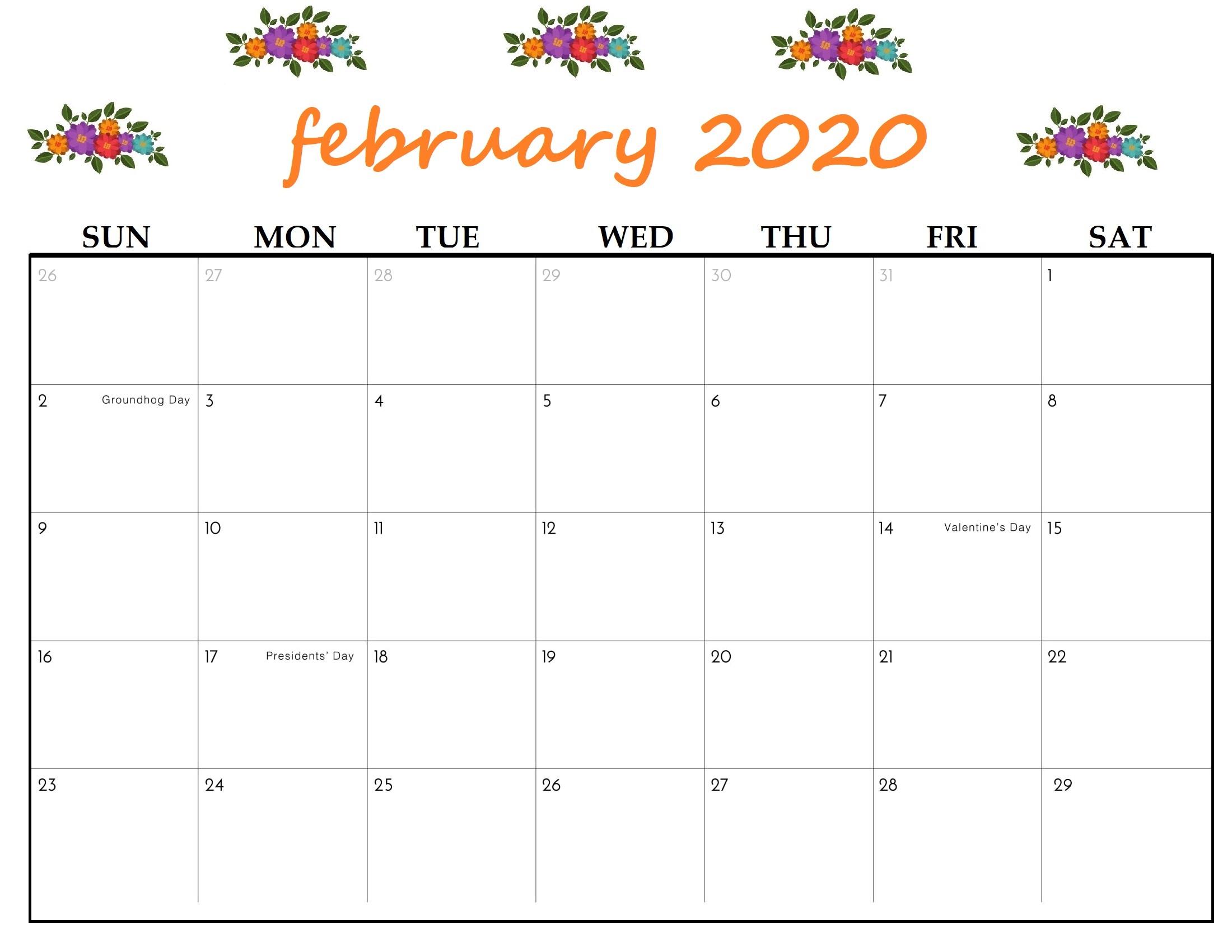 Editable Feb 2020 PDF Floral Calendar Template