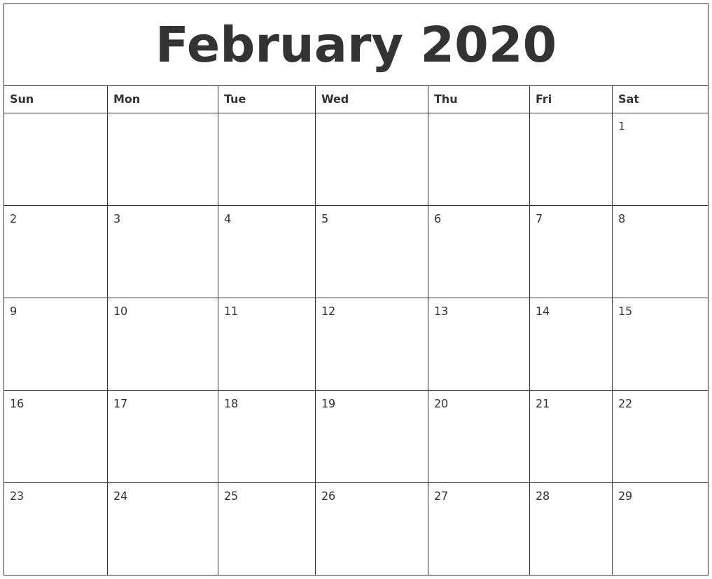 Fillable February 2020 Calendar Template