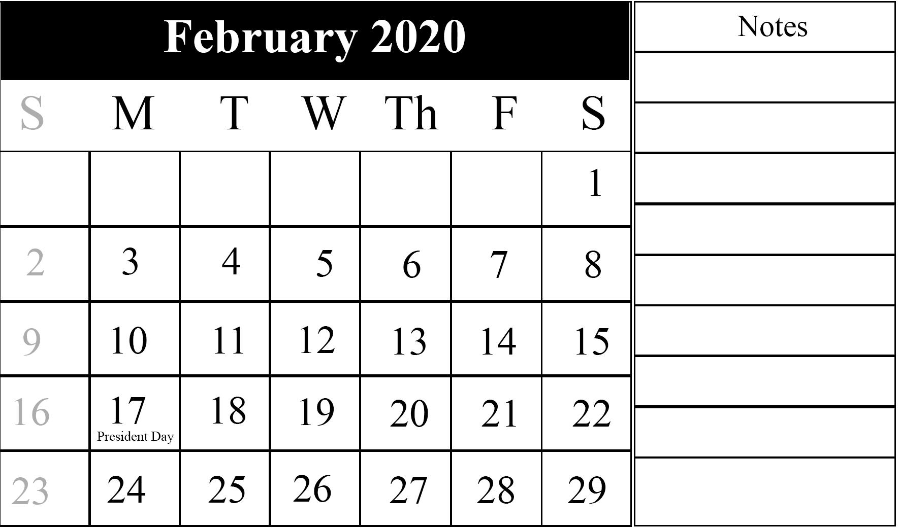 Editable February 2020 Calendar With Holidays