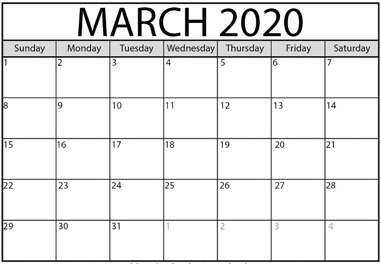 Editable March 2020 Calendar Blank Template