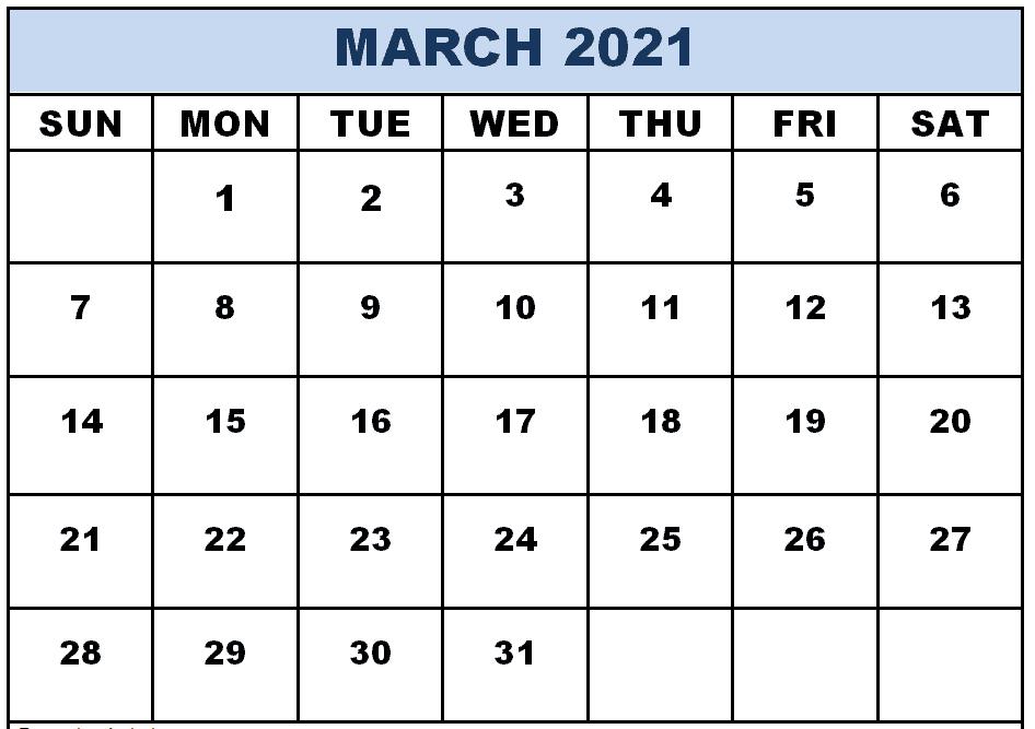 Editable March 2021 Calendar Word