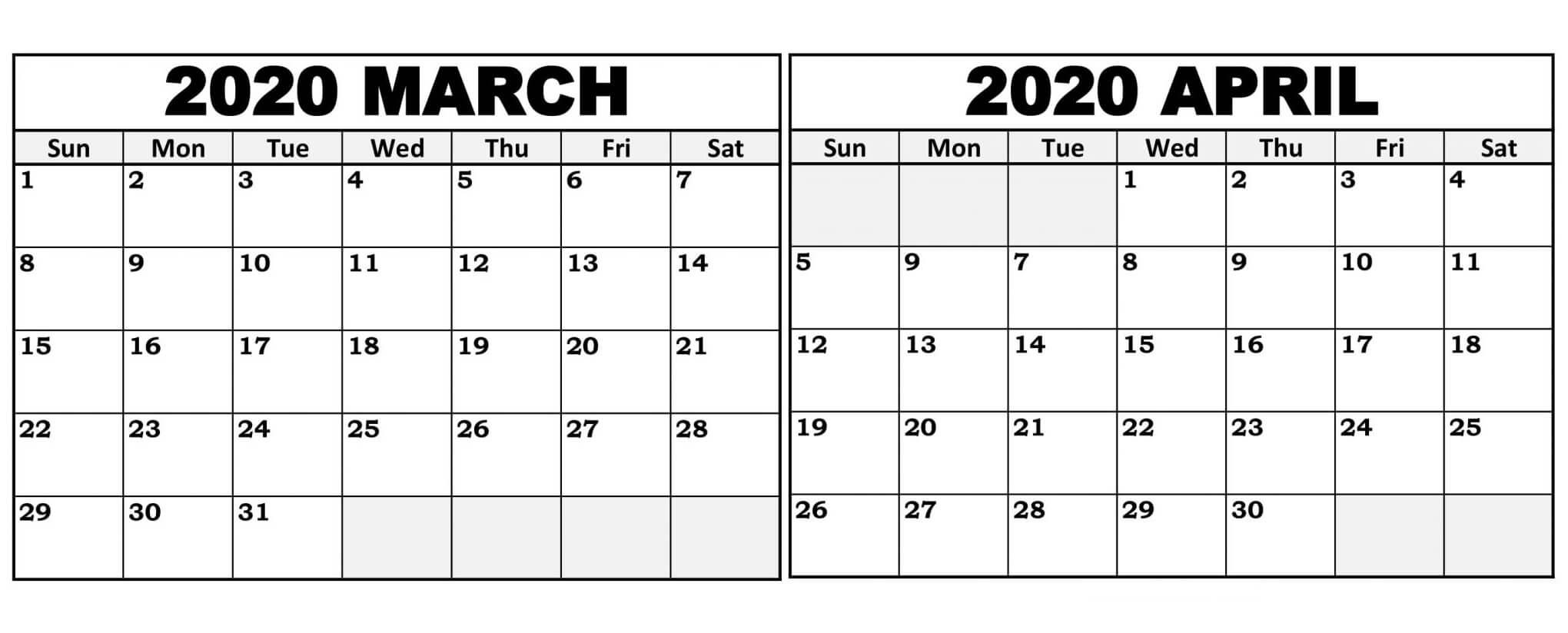 Editable March April 2020 Calendar