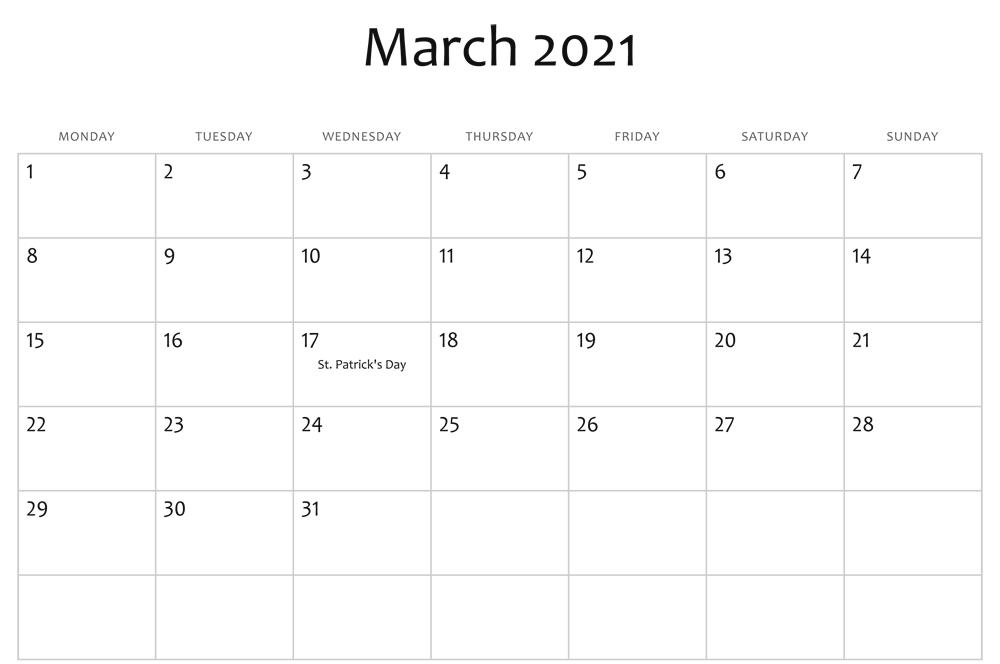 Editable March Blank Calendar 2021