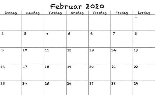 Februar 2020 Kalender PDF