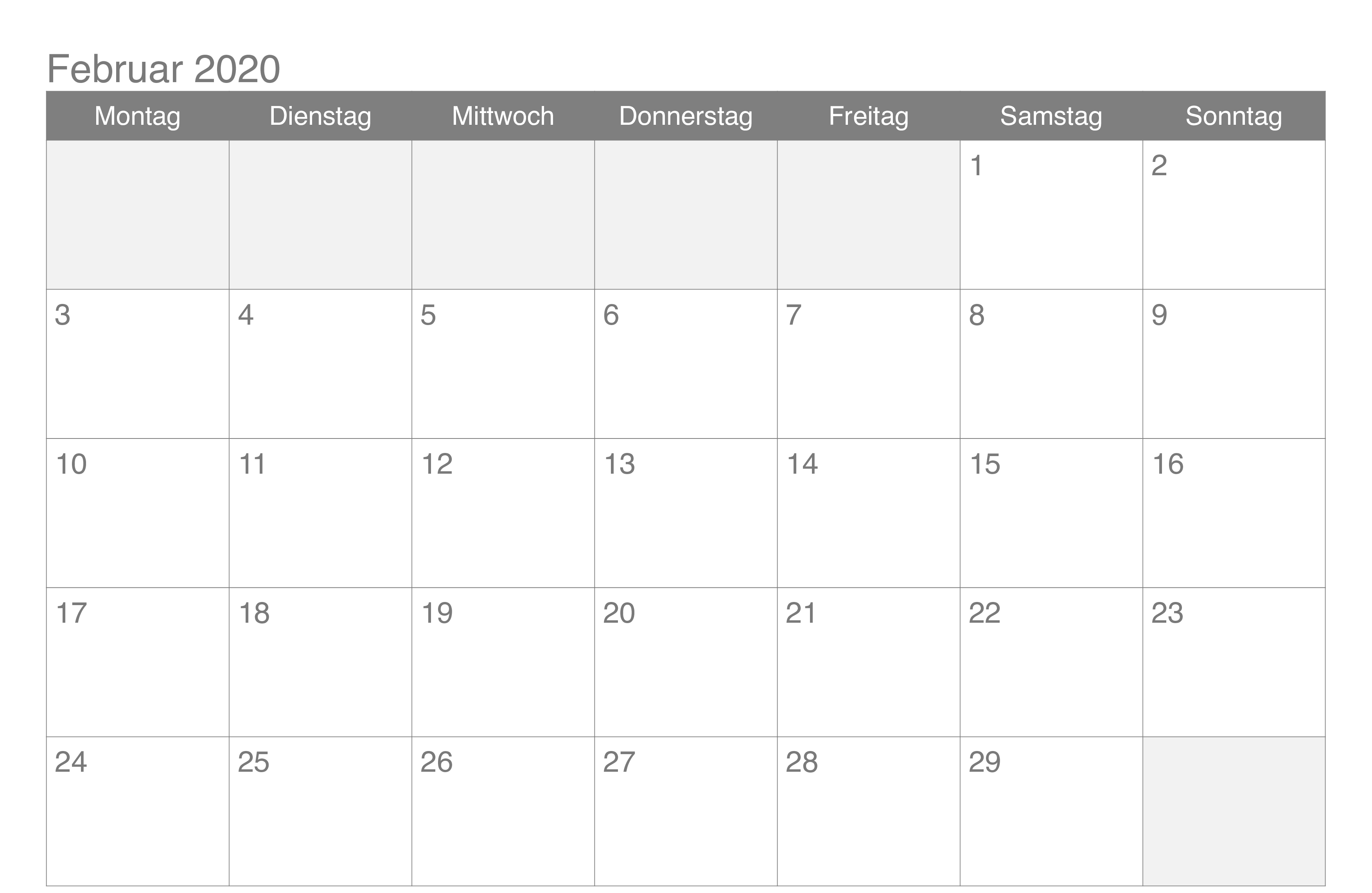 Februar 2020 Kalender