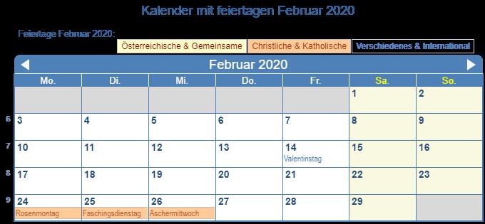 Februar Kalender