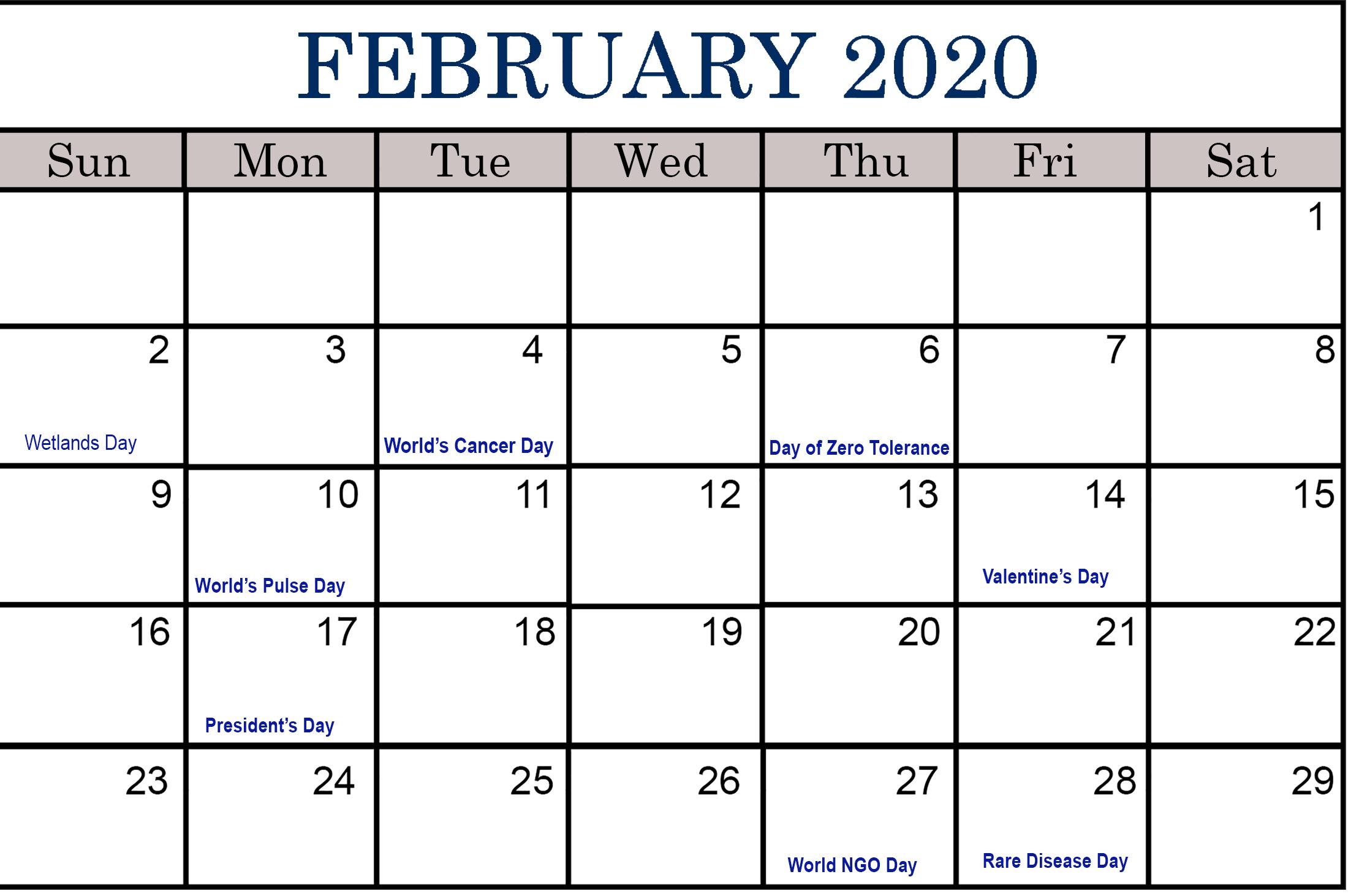 February 2020 Calendar Holidays Australia