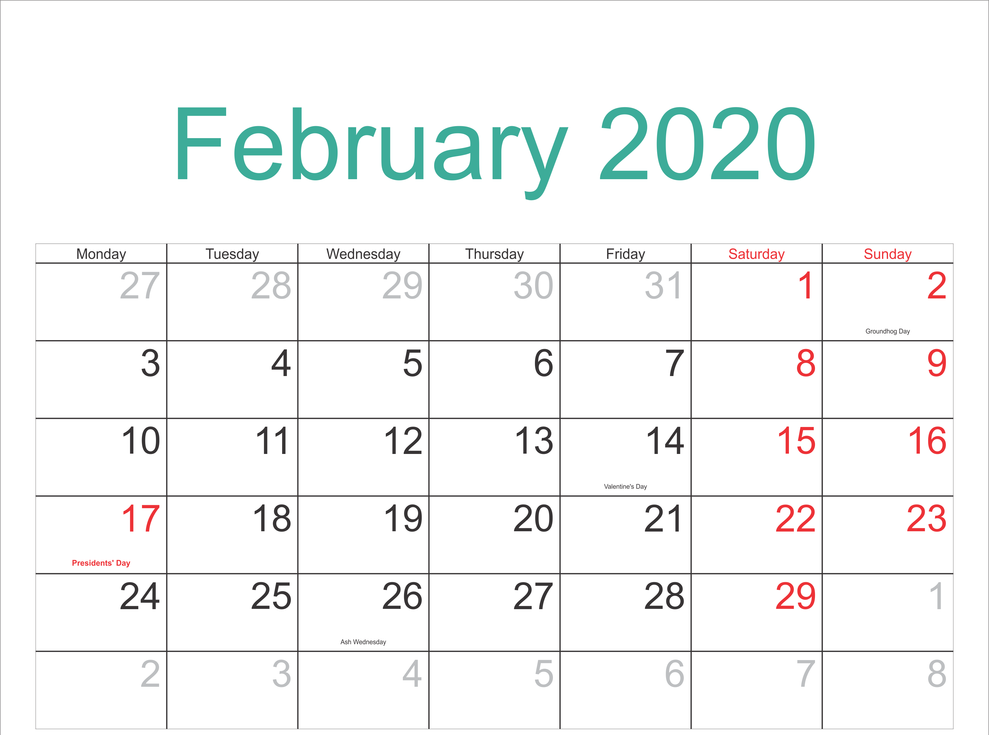 February 2020 Calendar With Holidays Template