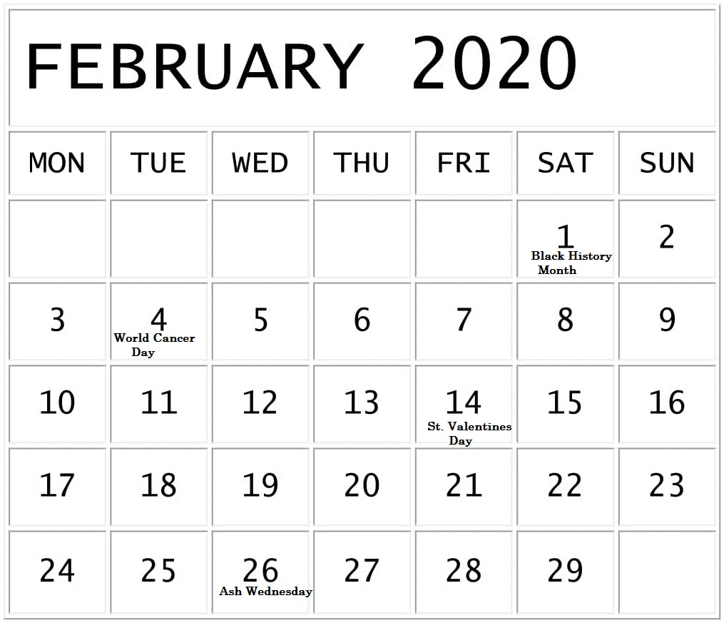 February 2020 Calendar With National Holidays