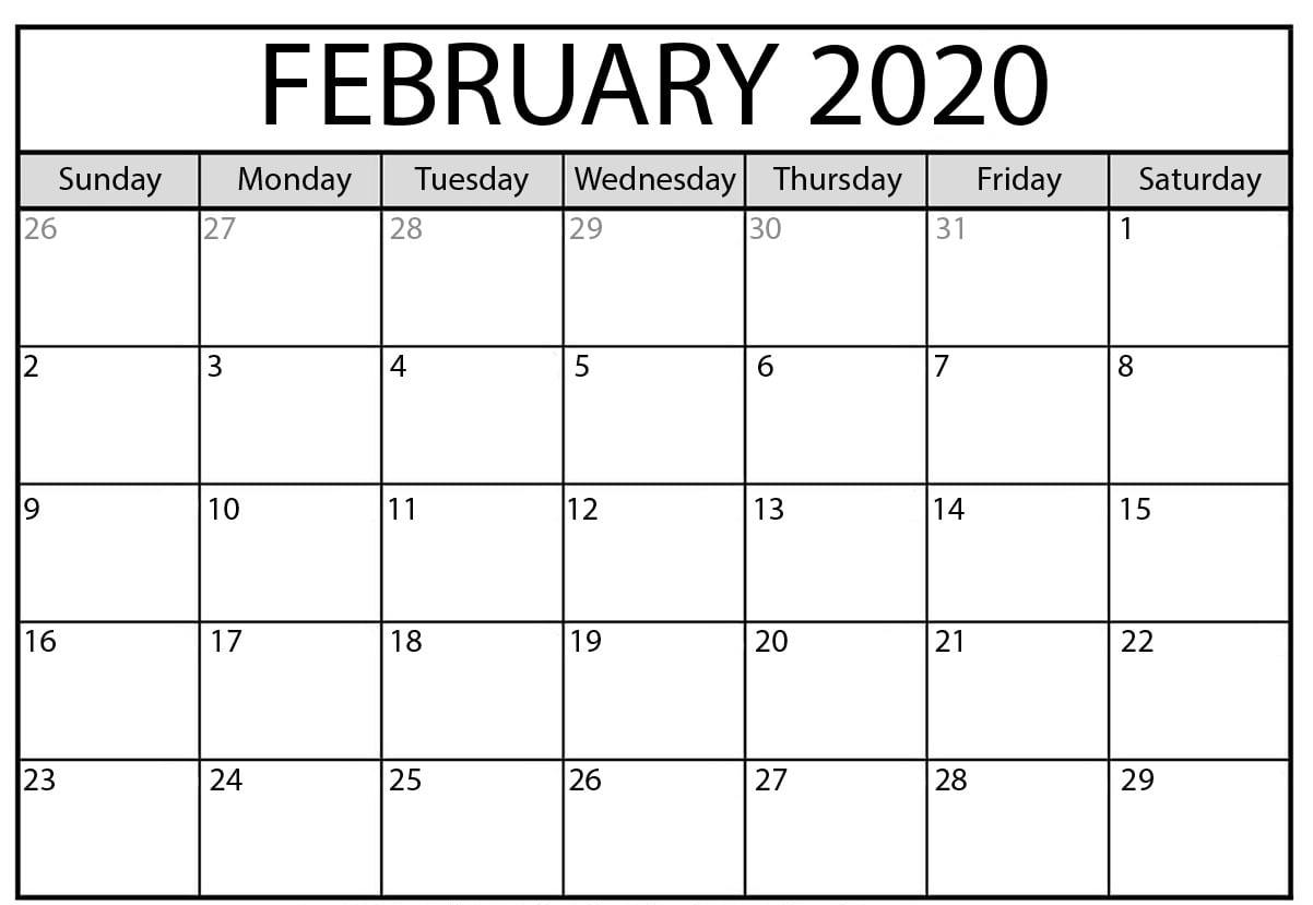 February 2020 Printable Blank Calendar Monthly Template