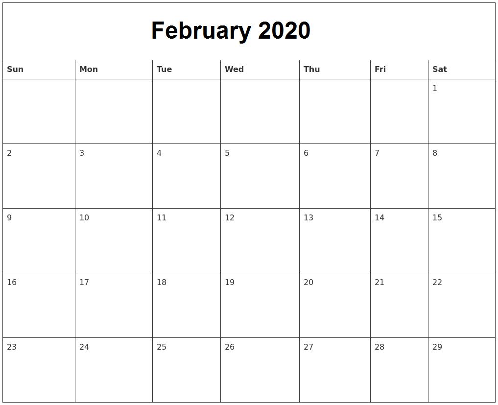February Calendar 2020 Holidays UK