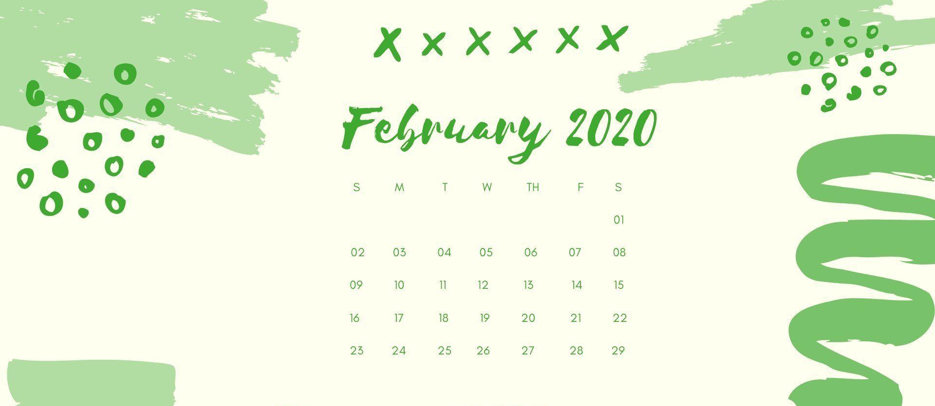 February Calendar 2020 Wallpaper