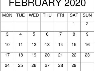 Fillable February 2020 Editable Printable Calendar