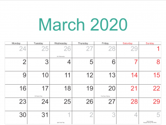 Fillable March 2020 Calendar