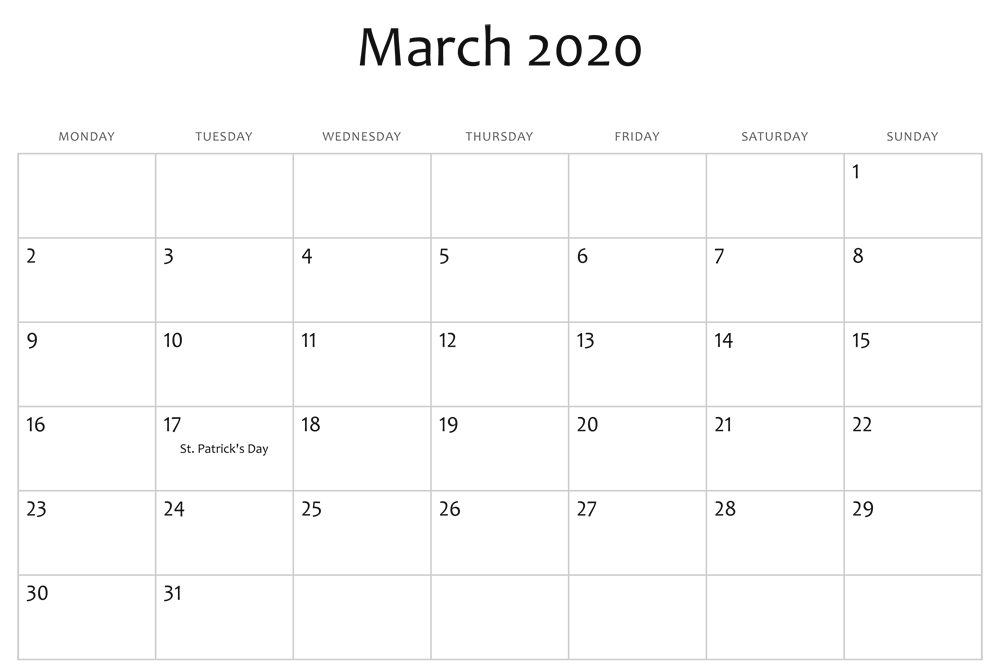 Fillable March 2020 Calendar Editable Template
