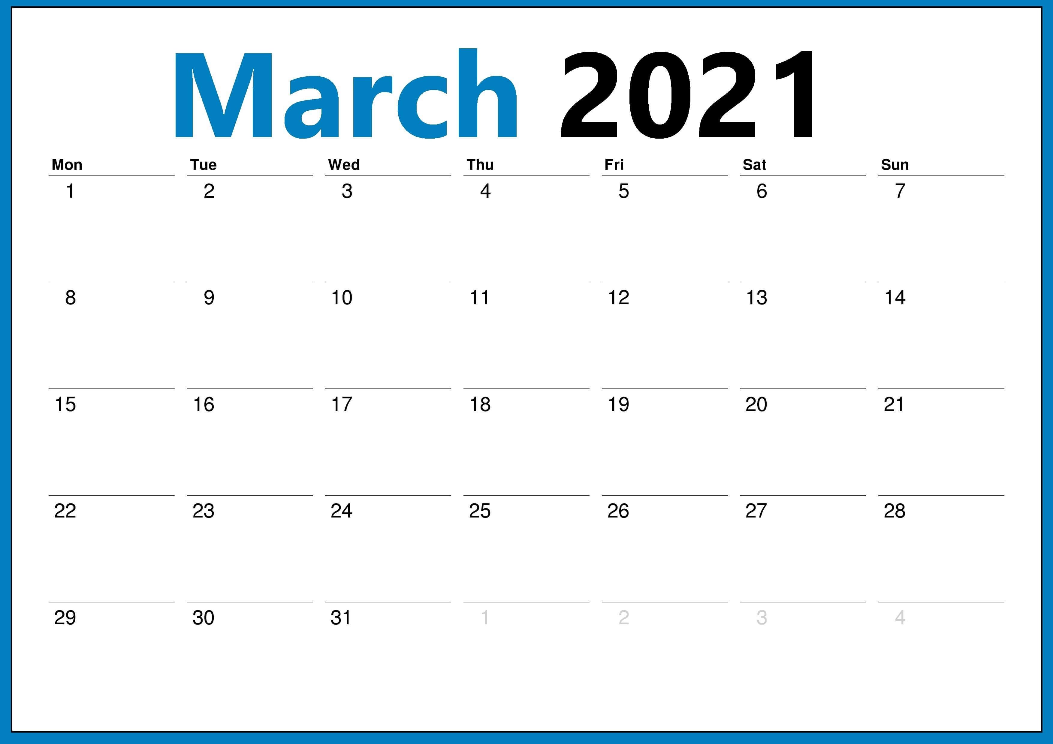 Fillable March 2021 Blank Calendar