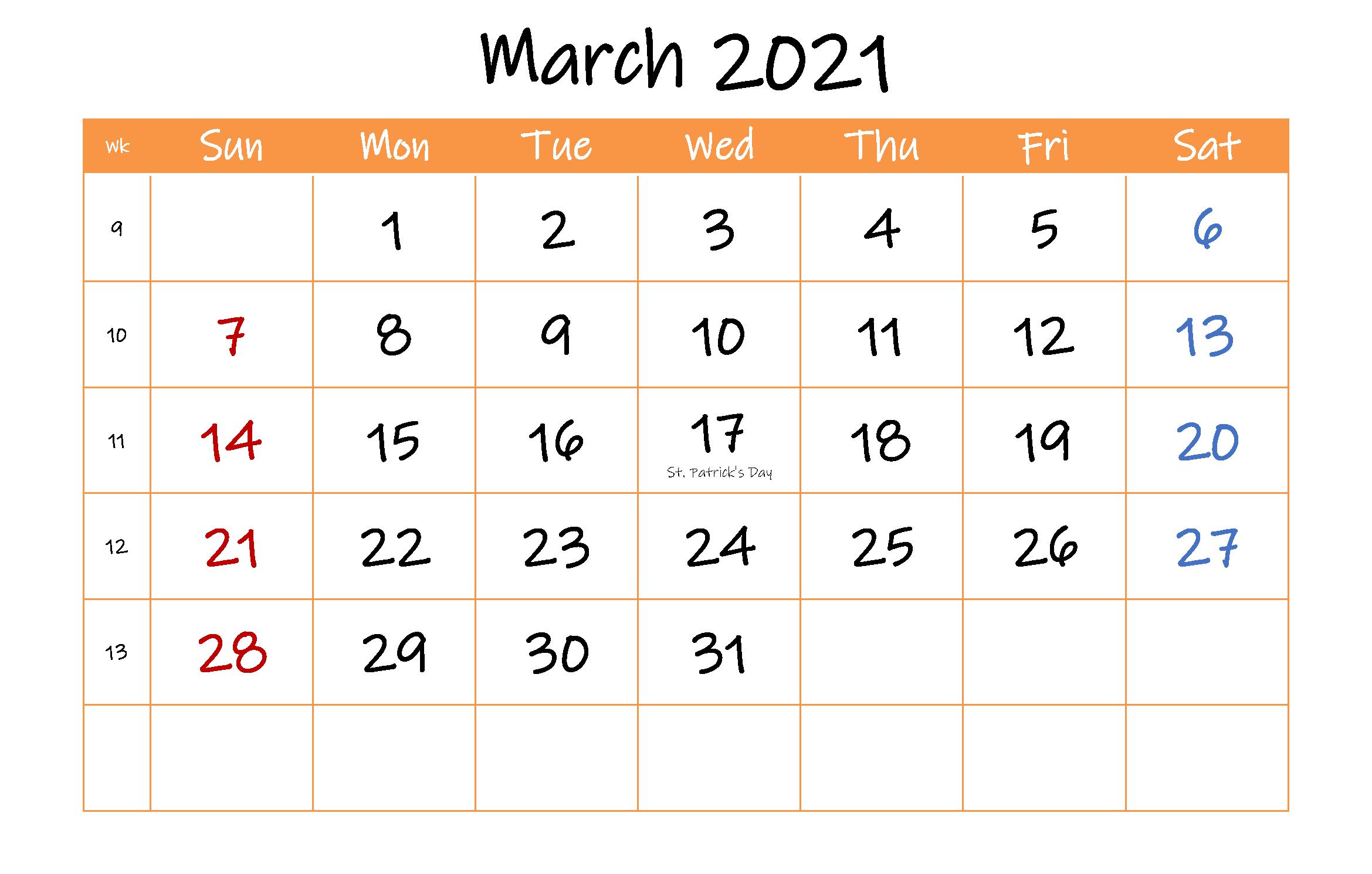 Free Blank March 2021 Calendar