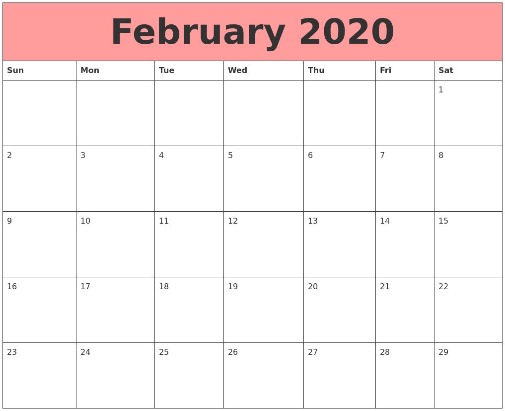 Free Calendar For February 2020 Editable Template