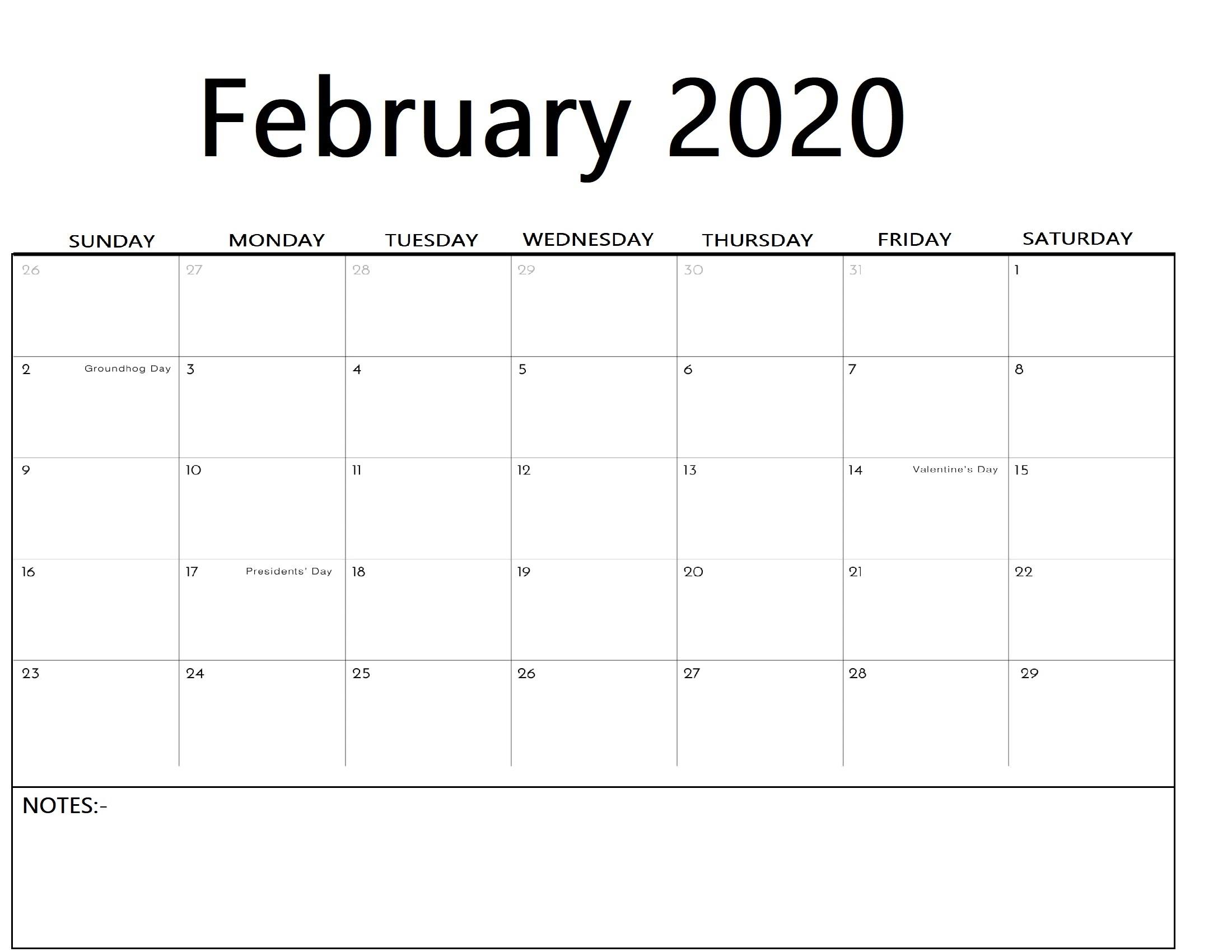 Free Fillable February Calendar 2020 Template