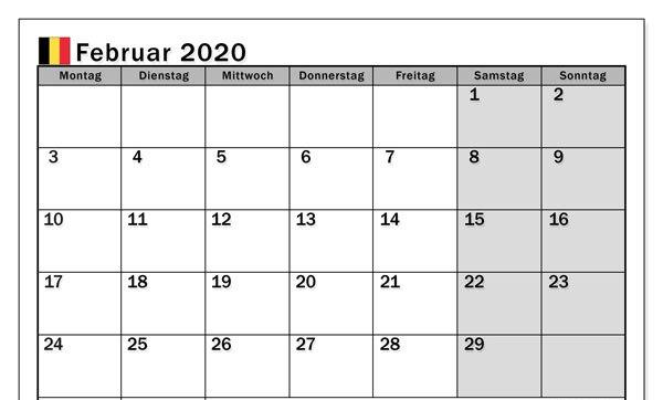 Kostenlose druckbare Februar 2020 Kalender