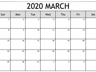 March 2020 Blank Calendar Template