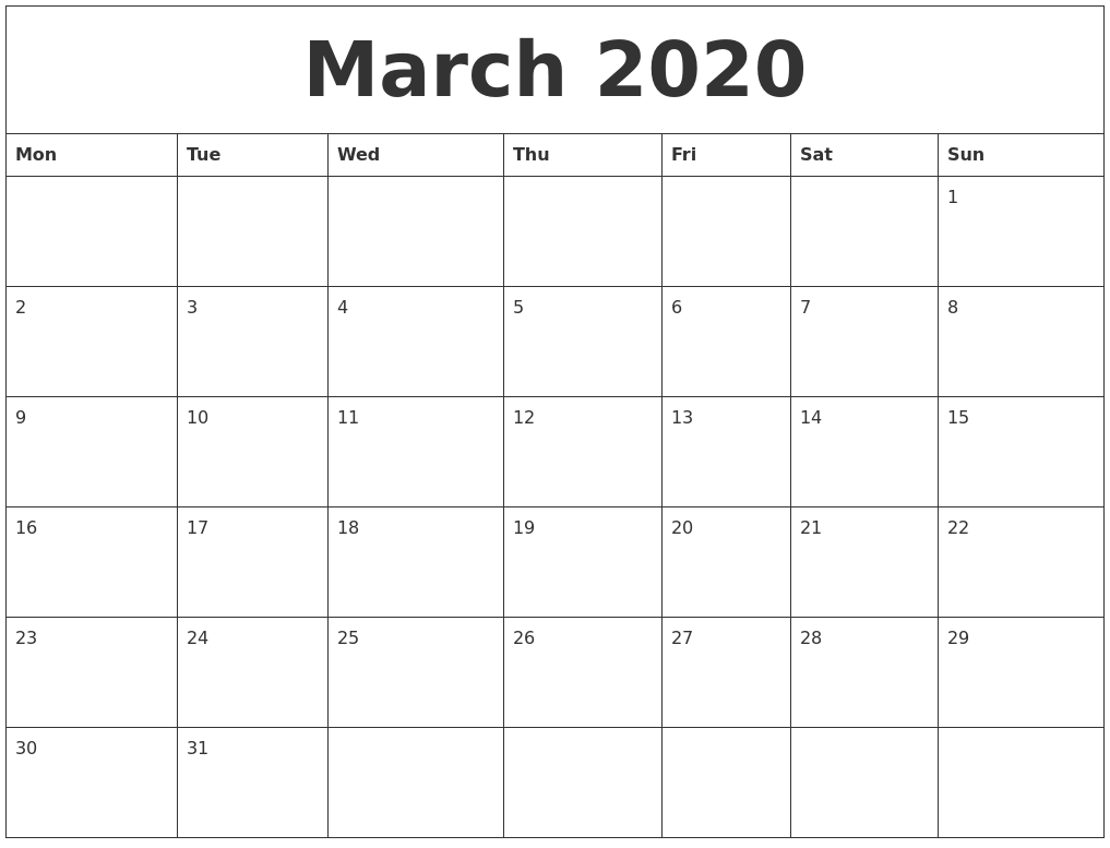 March 2020 Calendar Editable Template