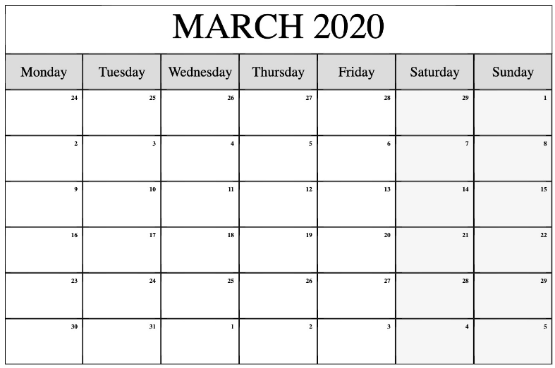 March 2020 Monthly Calendar Editable