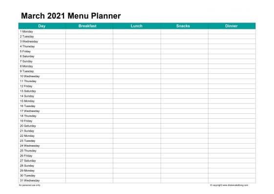 March 2021 Menu Planner