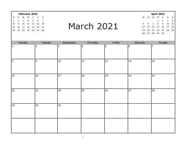 March Calendar 2021 Editable