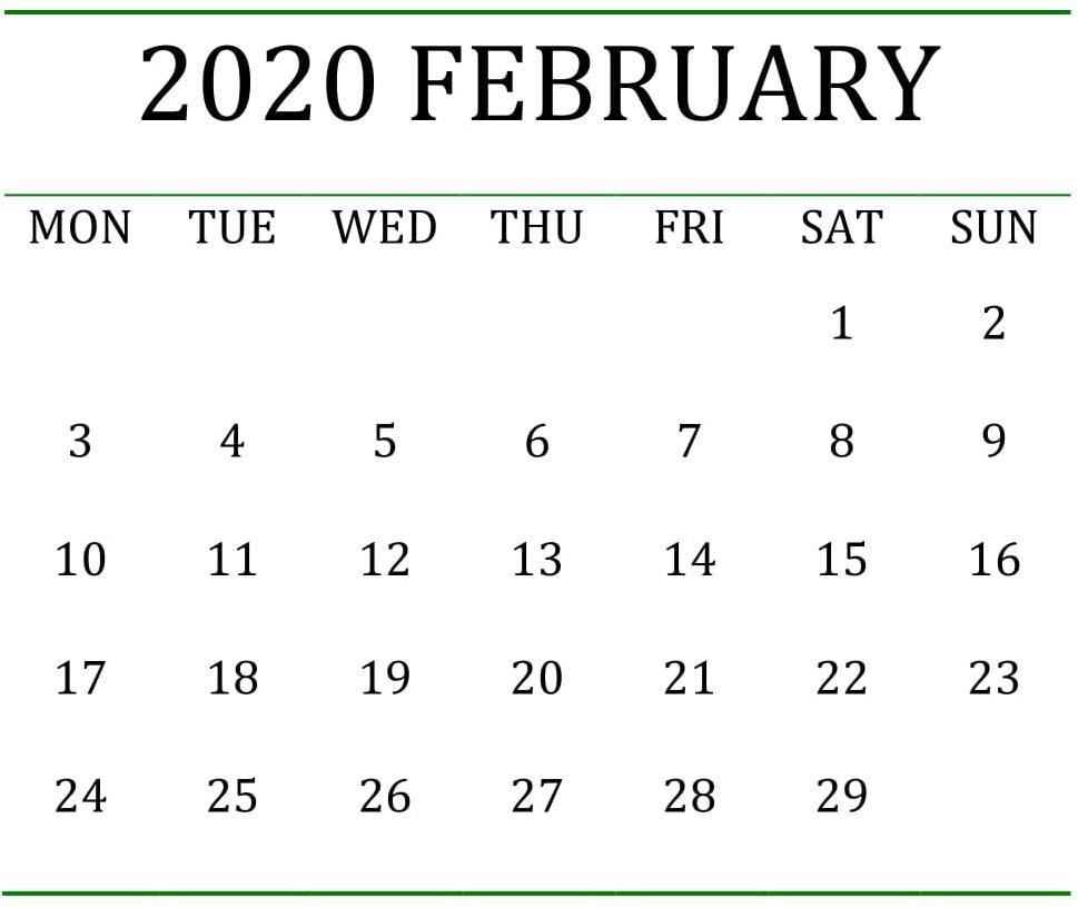 Printable February 2020 Calendar Holidays