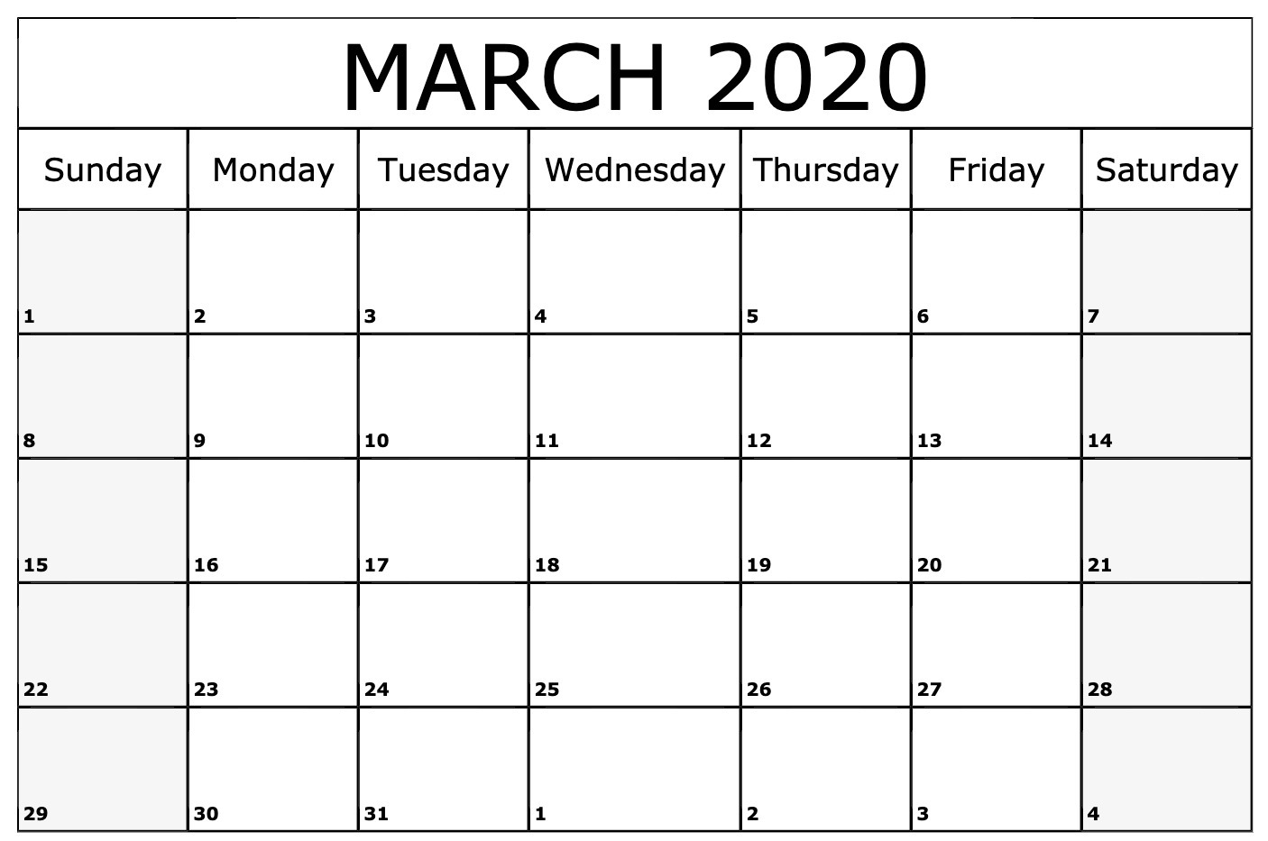 2020 March Editable Calendar Template