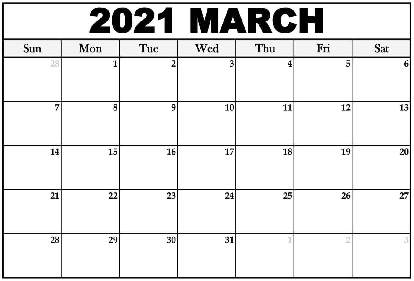 2021 March Blank Calendar