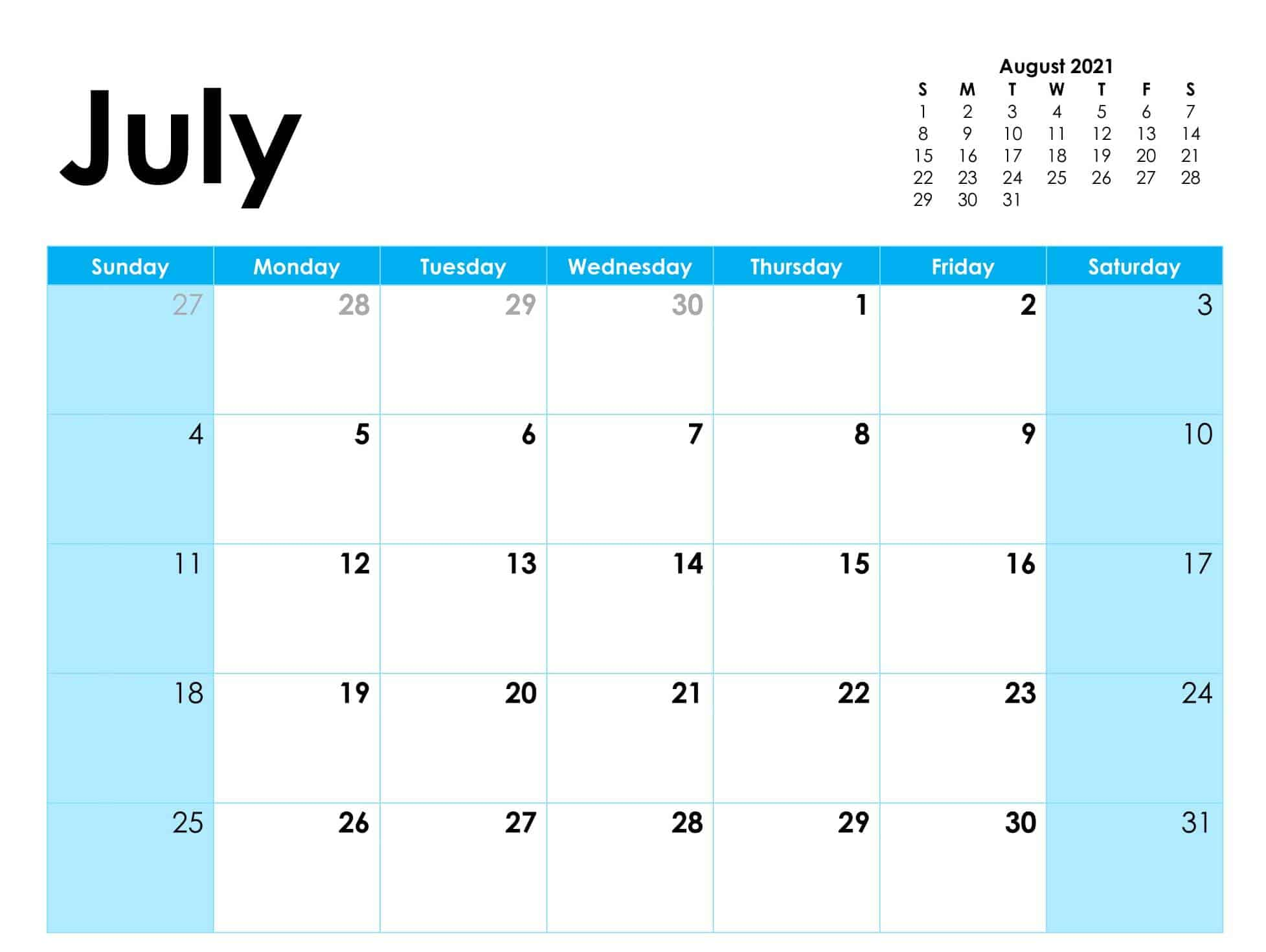 Blank Calendar Pages July 2021