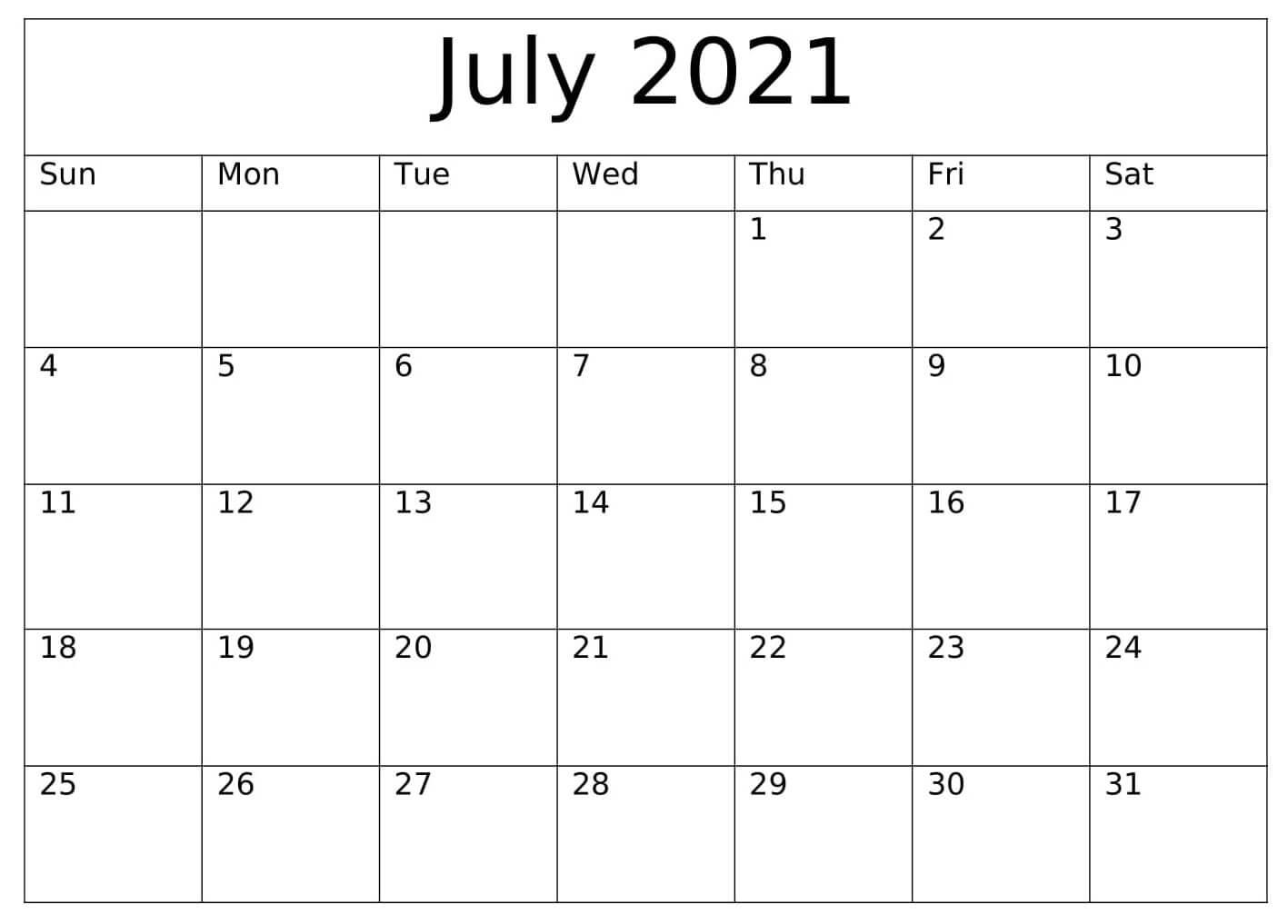 Blank July 2021 Calendar Templates