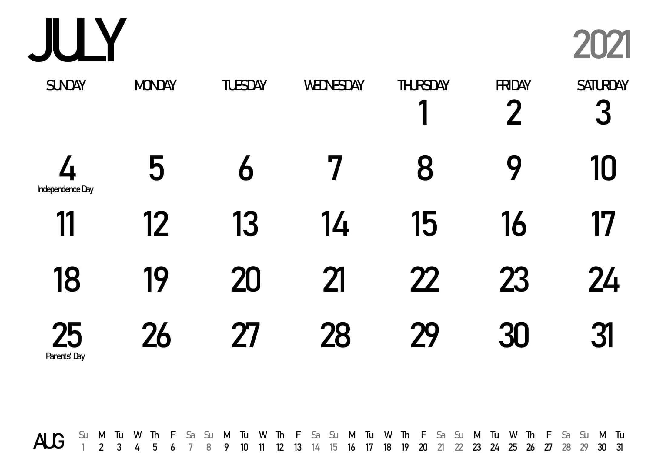 Blank July Calendar 2021 Printable