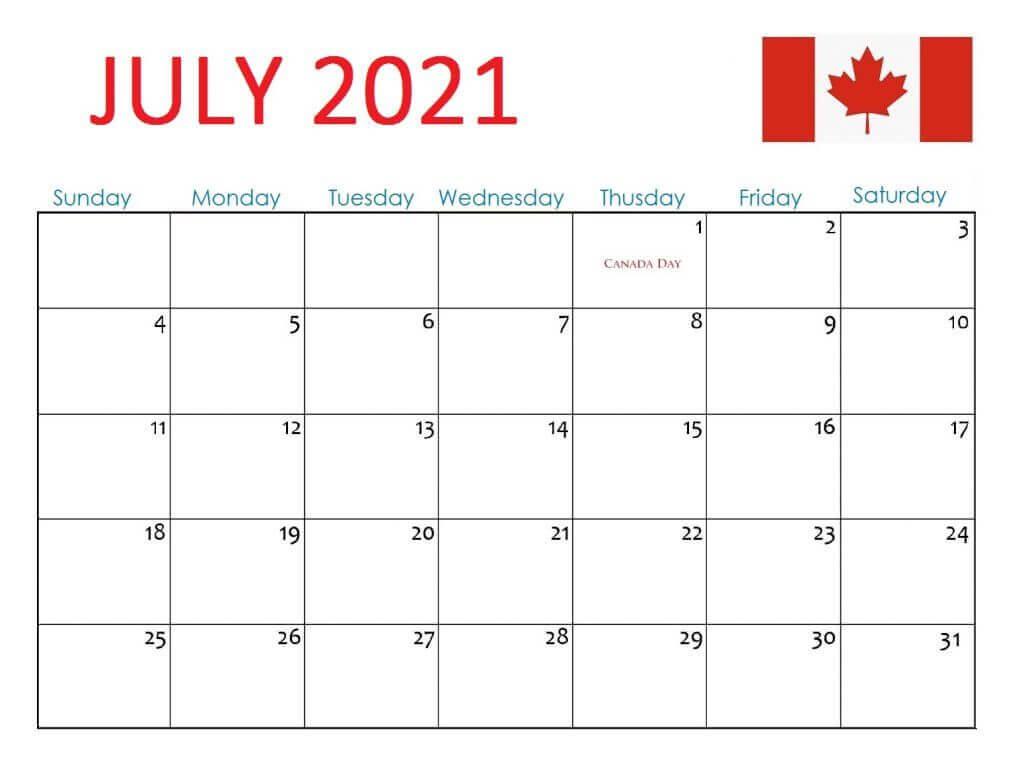 Canada Holidays Calendar July 2021