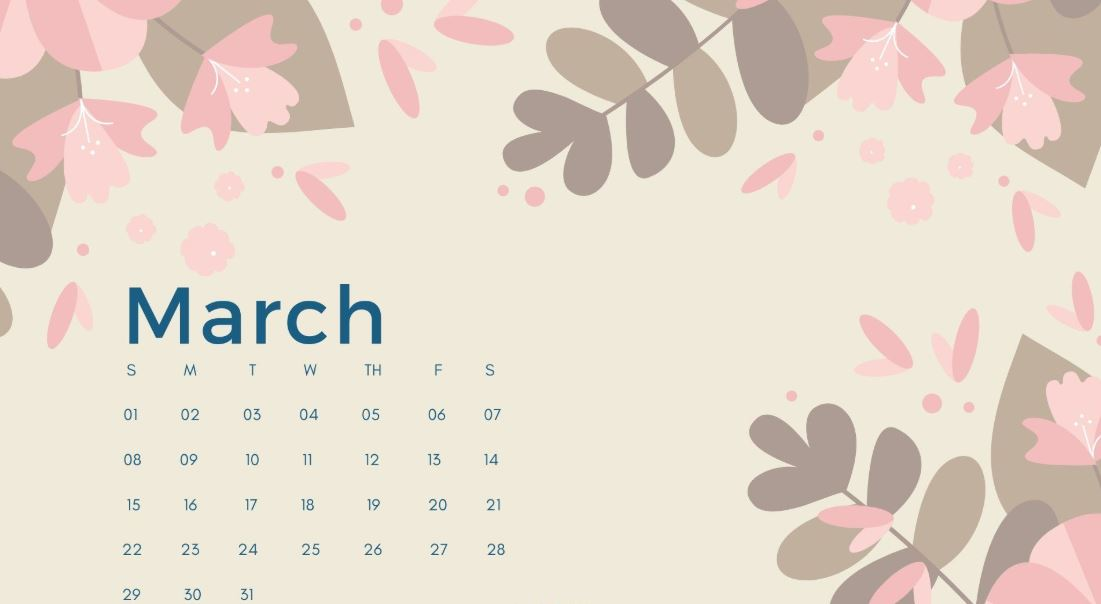 Cute March 2020 Calendar with Holidays