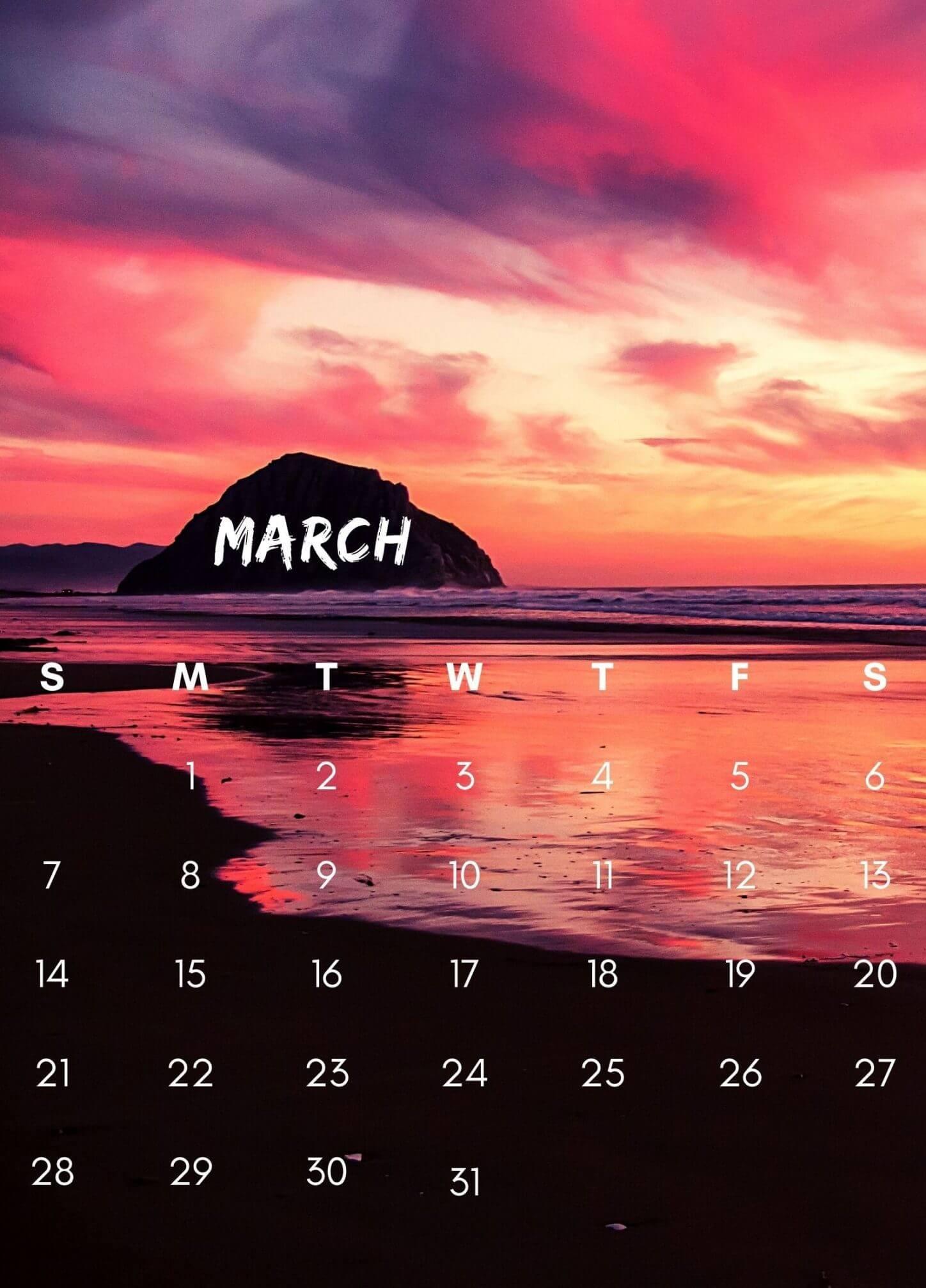 Cute March 2021 iPhone Calendar Wallpaper