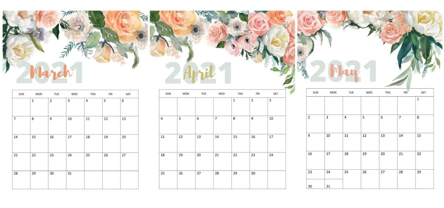 Cute March April May Calendar 2021