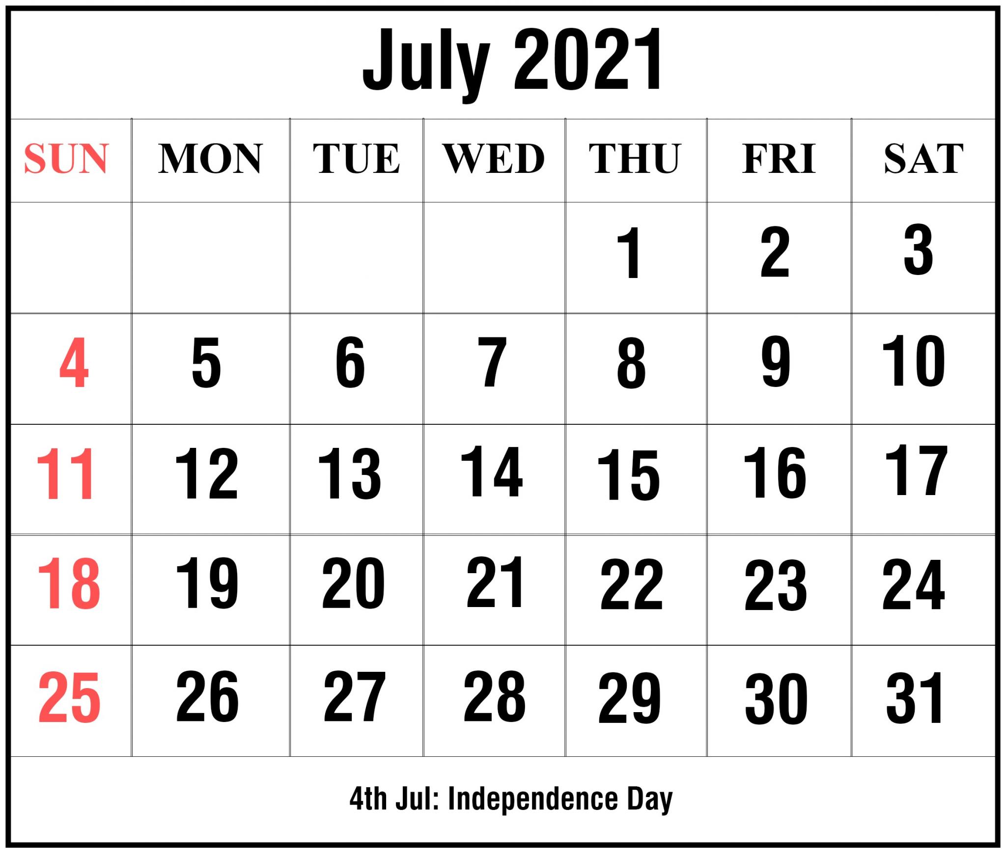 Editable July 2021 Calendar Printable
