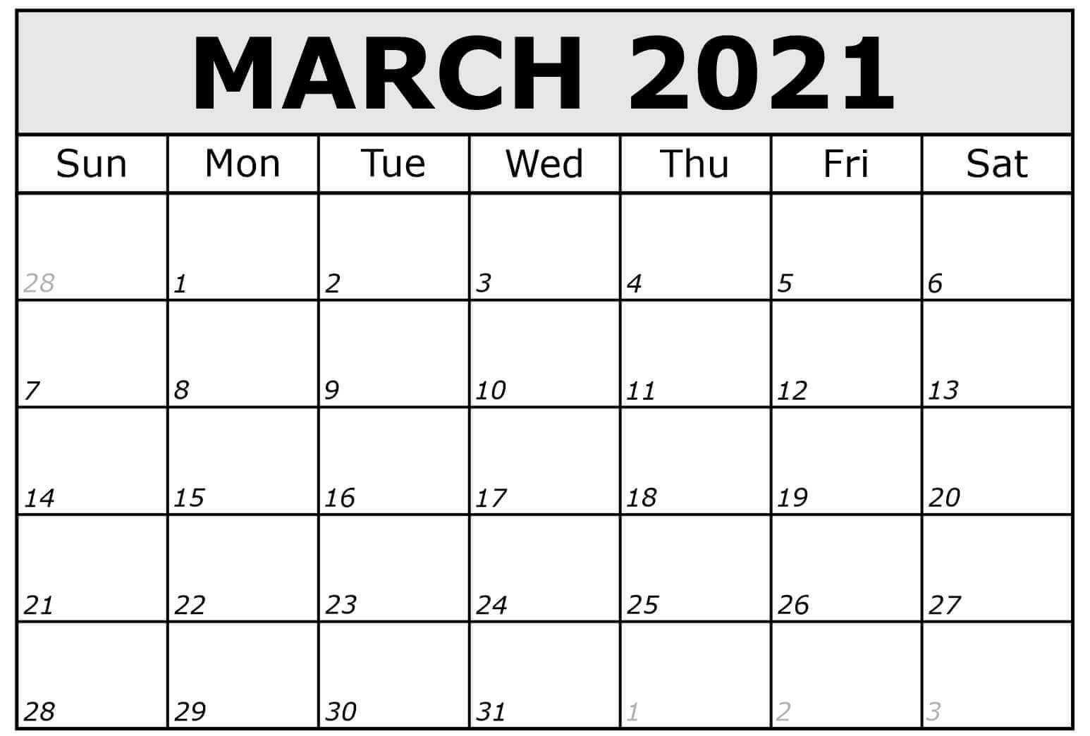 Editable March Calendar 2021 Word