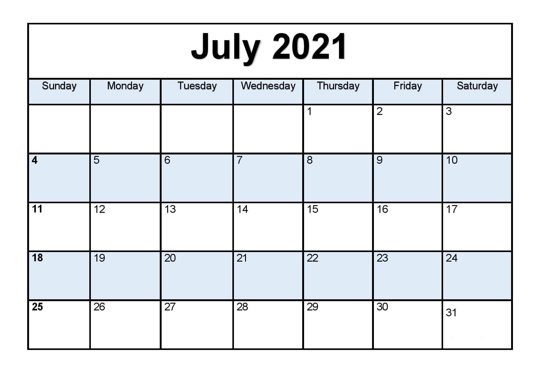 Fillable July 2021 Calendar Template