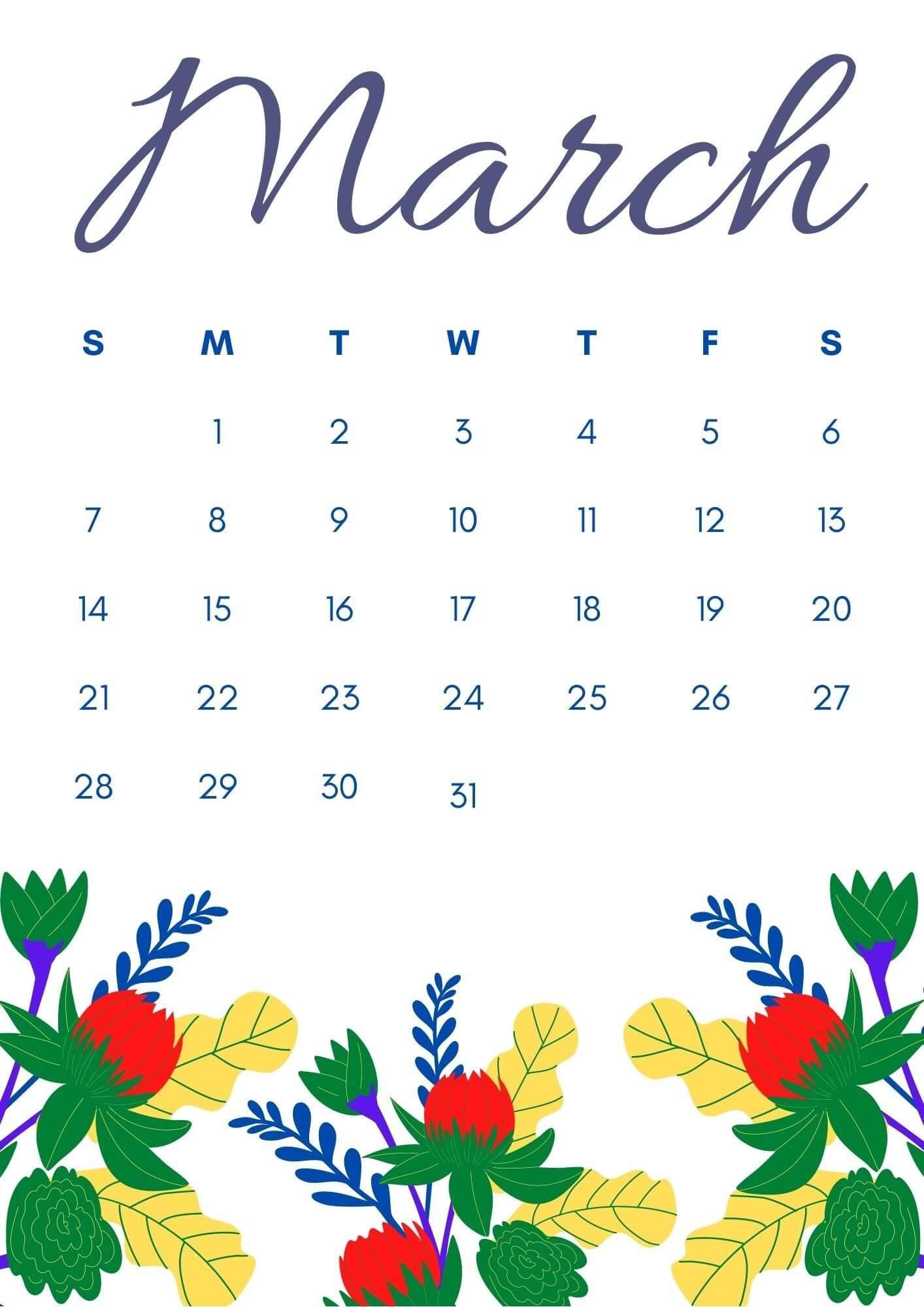 Floral March 2021 Calendar Printable