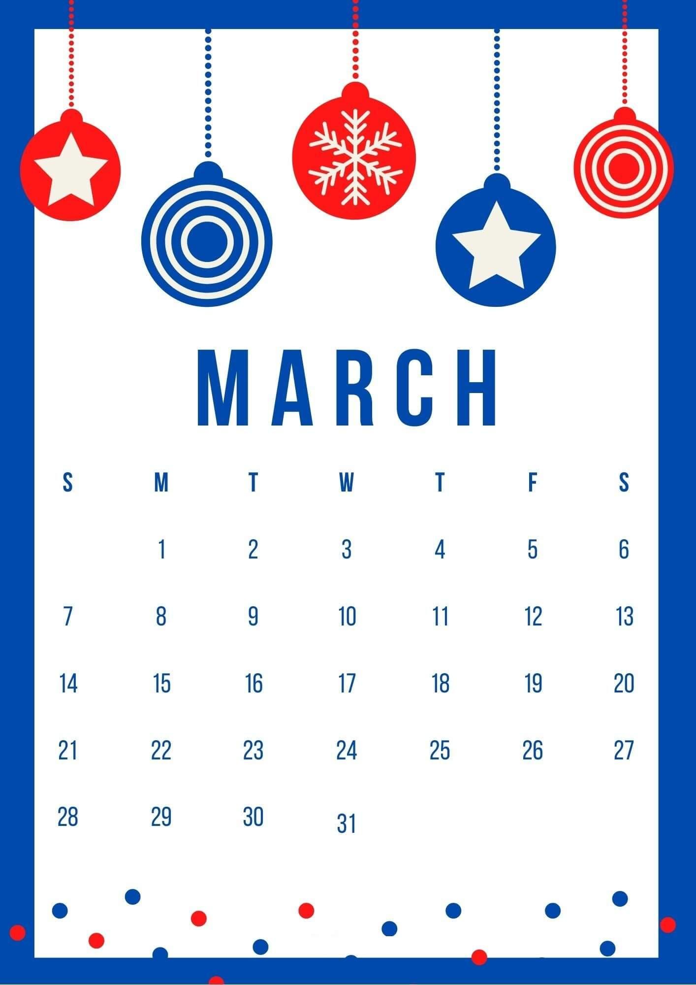 Free March 2021 Calendar Cute Design