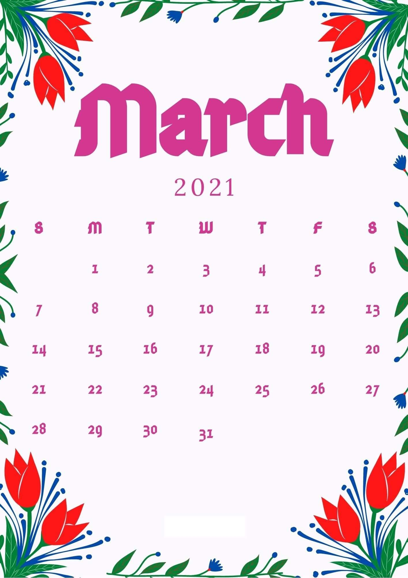 Free March 2021 Floral Calendar