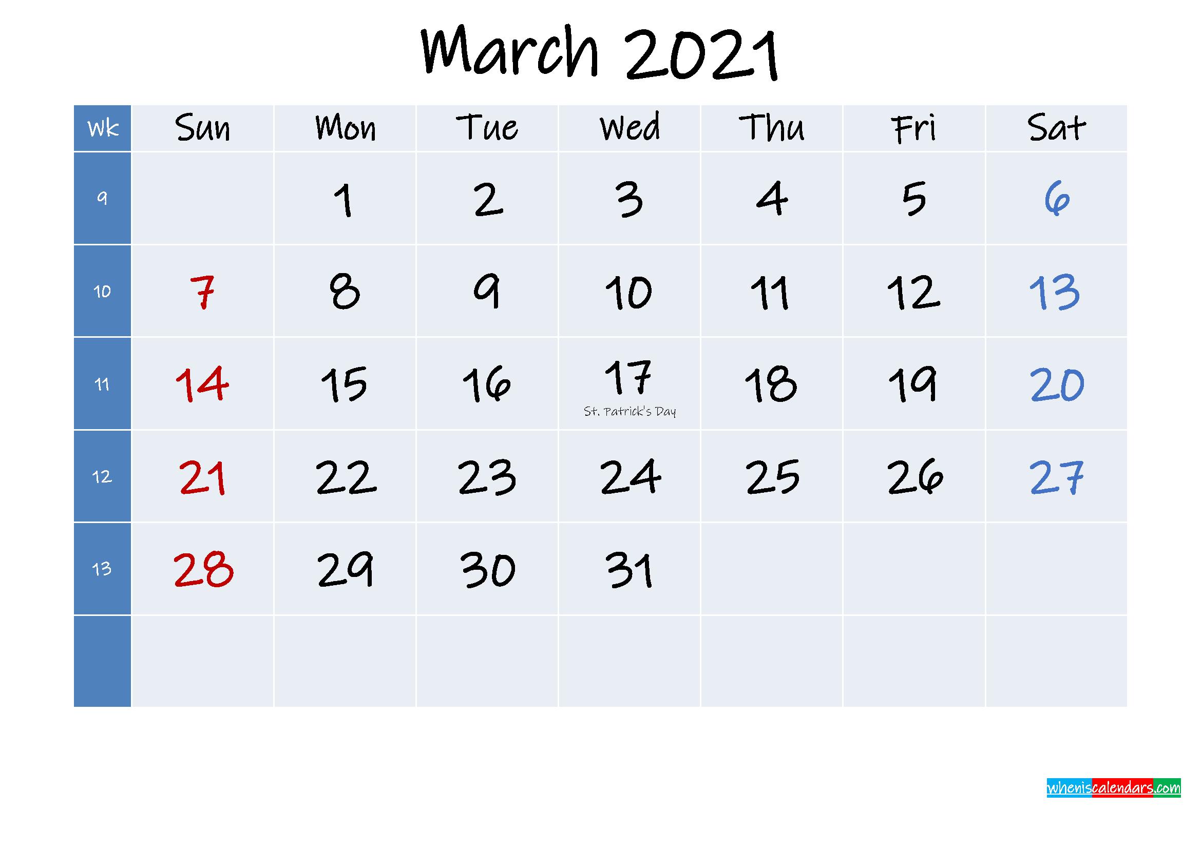 Holidays Calendar March 2021