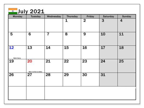 July 2021 Calendar with Holidays India